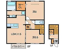 パインズコートIII[2階]の間取り