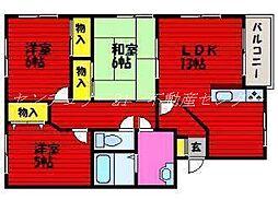 岡山県岡山市北区花尻ききょう町の賃貸マンションの間取り