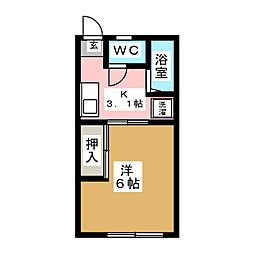 第六松コーポ[1階]の間取り