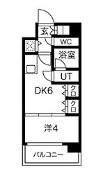 S-RESIDENCE淀屋橋 4階1DKの間取り