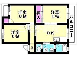 東富田ハイツ[304号室号室]の間取り