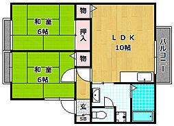 大阪府枚方市桜丘町の賃貸アパートの間取り