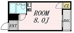 ルミナス福島 1階ワンルームの間取り