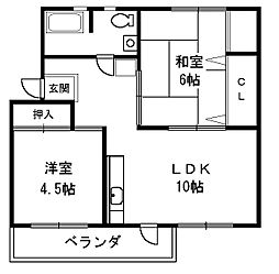 助松ハイツ C棟[5階]の間取り