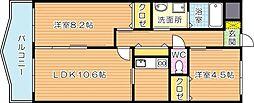 福岡県北九州市八幡西区竹末1丁目の賃貸マンションの間取り