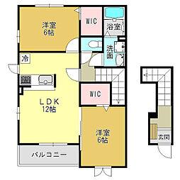 奈良県御所市大字三室の賃貸アパートの間取り