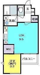エクセレント夙川 3階1LDKの間取り