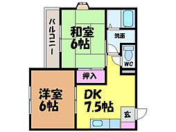 愛媛県東温市牛渕の賃貸マンションの間取り