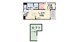 兵庫県伊丹市瑞原3丁目の賃貸アパートの間取り