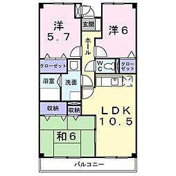 神奈川県高座郡寒川町倉見の賃貸マンションの間取り
