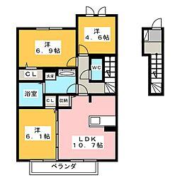 フレール B棟[2階]の間取り