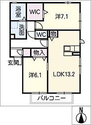 レフィナード松原A[2階]の間取り