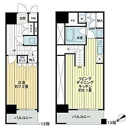 東京メトロ有楽町線 新富町駅 徒歩2分の賃貸マンション 13階1LDKの間取り