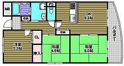 ルヴニール北野田[102号室]の間取り