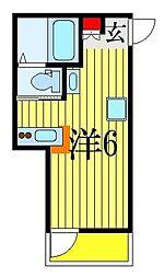 JR総武線 船橋駅 徒歩1分の賃貸アパート 2階ワンルームの間取り