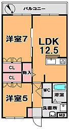 レーヴェンAZUKI[1階]の間取り