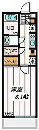 JR埼京線 与野本町駅 徒歩9分の賃貸マンション 2階1Kの間取り