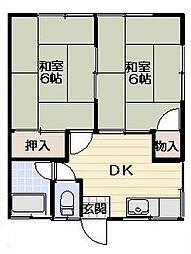 吉浜荘[102号室]の間取り