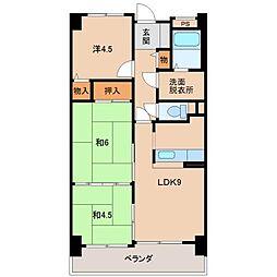 ライオンズマンションリバーサイド布施屋508[5階]の間取り