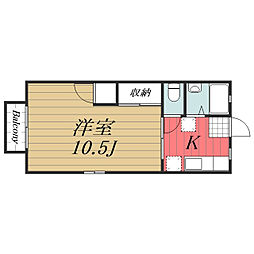 千葉県千葉市中央区葛城3丁目の賃貸アパートの間取り