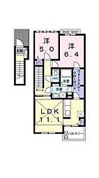 愛媛県松山市保免上1丁目の賃貸アパートの間取り