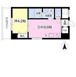 南海高野線 白鷺駅 徒歩7分の賃貸マンション 3階1DKの間取り