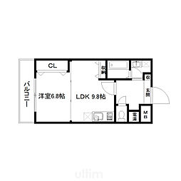 京阪本線 清水五条駅 徒歩5分の賃貸マンション 2階1LDKの間取り