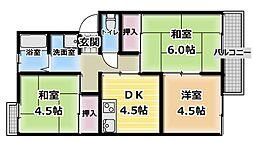 大阪府門真市北岸和田3の賃貸アパートの間取り