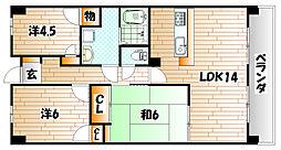 福岡県北九州市小倉南区北方1丁目の賃貸マンションの間取り