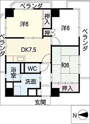 レジデンス内田橋[6階]の間取り