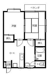 コーポ城山台[1階]の間取り