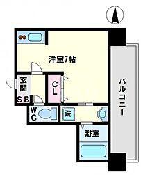 ドゥーエ森ノ宮 3階ワンルームの間取り