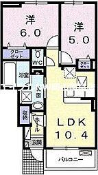 メゾン フィオーレ 1階2LDKの間取り