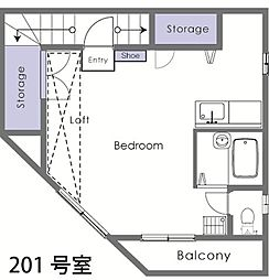 埼玉県東松山市日吉町の賃貸アパートの間取り