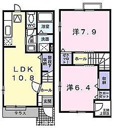 大阪府枚方市藤田町の賃貸アパートの間取り