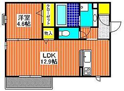 大阪府堺市西区鳳南町2丁の賃貸アパートの間取り