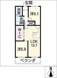 横山マンション[8階]の間取り