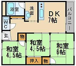 兵庫県伊丹市野間北6丁目の賃貸マンションの間取り