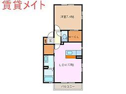 三重県鈴鹿市桜島町7丁目の賃貸アパートの間取り