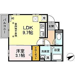 愛知県名古屋市瑞穂区井戸田町2丁目の賃貸アパートの間取り