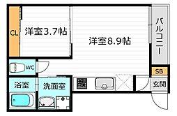 京阪本線 野江駅 徒歩8分の賃貸アパート 3階1LDKの間取り