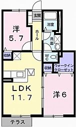 グランドゥールC[1階]の間取り