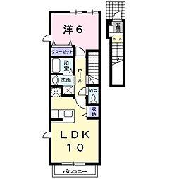 愛知県名古屋市緑区鳴海町字諏訪山の賃貸アパートの間取り