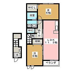 ヴィラフィオリータ[2階]の間取り