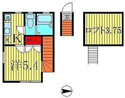 東京都葛飾区お花茶屋2丁目の賃貸アパートの間取り