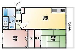 サンライズアベノ[3階]の間取り