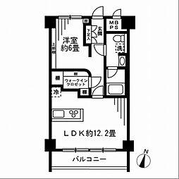 秀和第2田町レジデンス 7階1LDKの間取り