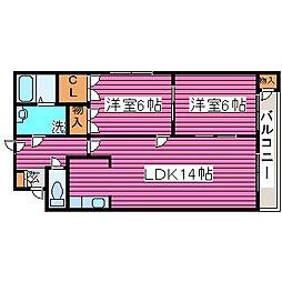 北海道札幌市東区北三十八条東6丁目の賃貸マンションの間取り