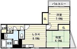 大阪府大阪市生野区巽西2丁目の賃貸マンションの間取り