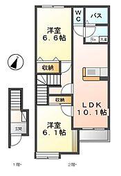 愛知県一宮市伝法寺11丁目の賃貸アパートの間取り